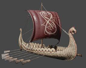 3D asset animated Viking Ship - Viking Drakar PBR