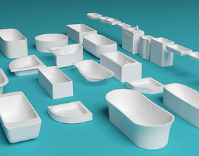 Bathtubs and sinks 3D asset