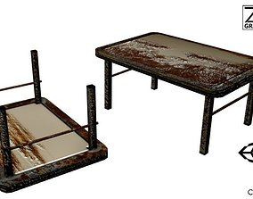 3D asset Post-Apocalyptic Grimy Rusty Table
