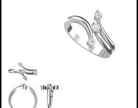 3D print model Diamond three stone ring rings cad 2