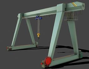 3D model PBR Single Girder Gantry Crane V1 - GREEN LIGHT