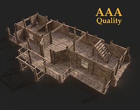 3D model SLAVIC MEDIEVAL THATCHED VILLAGE WOODEN HOUSE 2