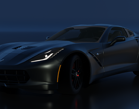 rigged Chevrolet Corvette C7 Stingray Rigged 3D
