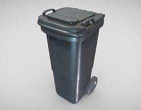 3D asset Black Plastic Waste Bin 60 Liters 945x360x448