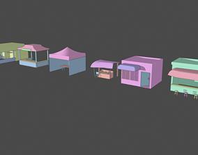 3D model MArket Shops amd Stalls Pack