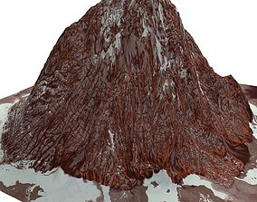 Red Snow ICE Mountain Canyon Desert Low Poly 3D model 3