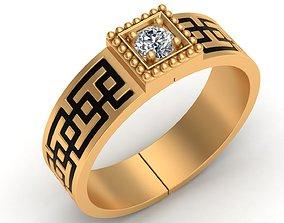 One Stone Enamel Gold Men Ring 3D print model