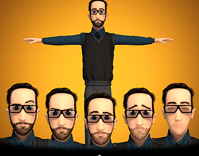 Male Cartoon Character 3D model animated