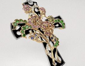Flower cross - original 3D printable model pendant