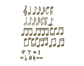 3D printable model musical notes symbols characters