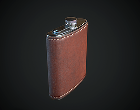 3D model low-poly PBR Hip Flask