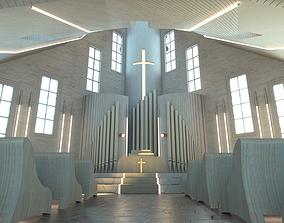 Modern church - exterior interior 3D