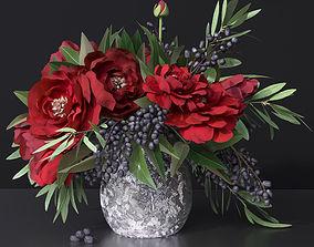 3D Red Peonies Vase