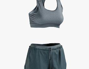 Womens Sport Shorts Tshirt 6 3D asset