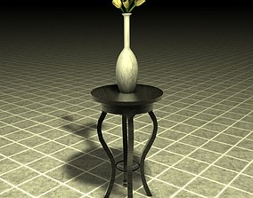 Stand table with vase and flowers 3D
