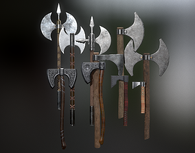 Medieval Weapons Axe Collection 01 3D model