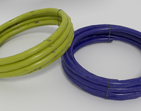 Low poly PVC gas or water pipes 3D asset