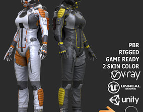 3D model animated low-poly Female Space Suit
