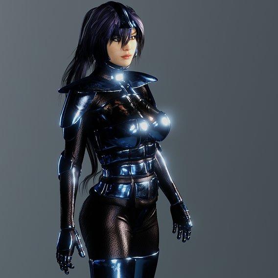 Sci-Fi Woman in Blue Metallic Costume