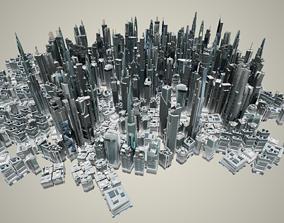 35 Futuristic LowPoly Buildings 3D model