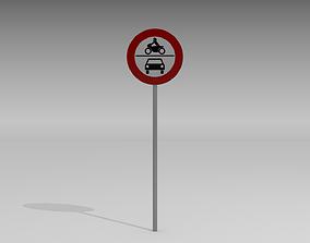 No vehicles sign 3D model