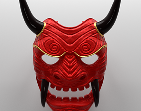 game-ready Samurai Assassin Oni Mask Asset