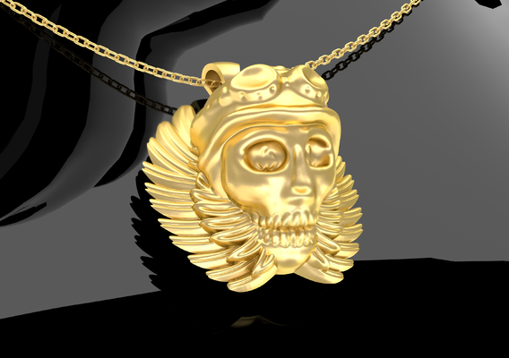 Wing skull skeleton pendant jewelry Gold 3D print model
