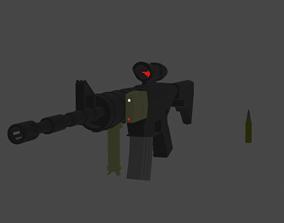 3D model realtime M4A1 low poly optimized