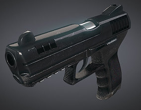 Hand Gun with Stylized Design 3D model