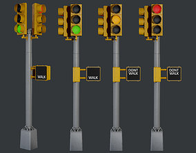 Traffic Light 01 Low Poly Game Ready 3D model