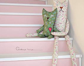 Textile toys cats hanging 3D exterior
