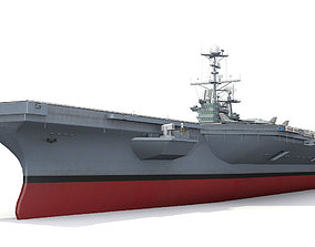 Aircraft carrier 3D model low-poly