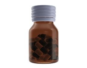 3D model Medicine glass bottle with pills