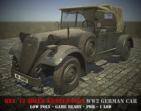 Kfz12 Adler Kubelwagen - WW2 German Car - Game 3D asset 2