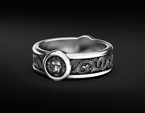 3D printable model Stylish lion head ring with patterns