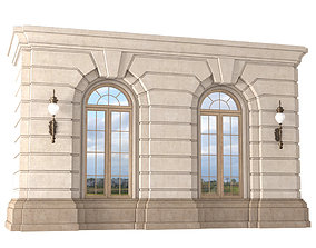 3D model Arched rusticated facade Wall window arch