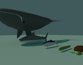 3D asset Low Poly Fish Pack