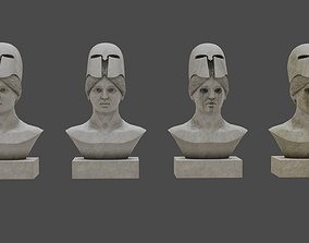 Low Poly Pallid Bust Of Pallas With PBR 3D asset