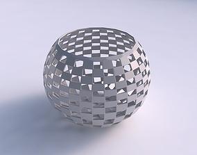 Bowl spheric with checker grid lattice 3D printable model