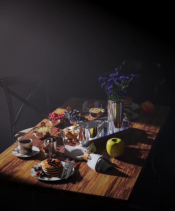 Breakfast. Still life.
