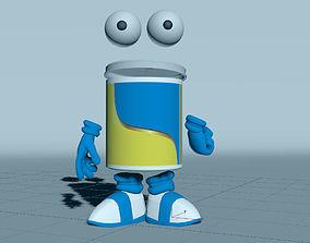 3d Color Can Cartoon character