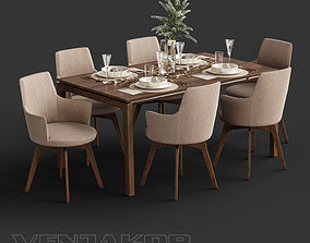 Venjakob Alexia Chair with Dining Table ET388 3D model