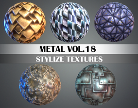 3D model Stylized Metal Vol 18 - Hand Painted Texture Pack
