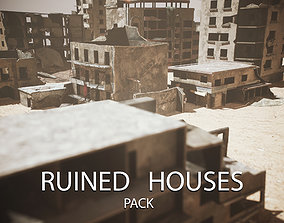 Ruined Houses Low-poly 3D model VR / AR ready