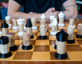 3D print model Wine Cork Chess Set