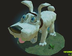 3D asset LowPoly Cartoony Dog Rigged