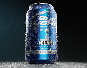 beer can with water droplets 3D model