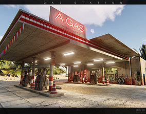 3D model game-ready Gas station