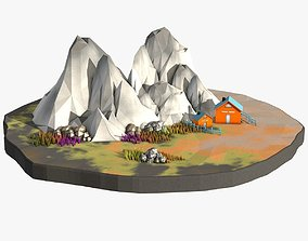 3D asset Cartoon Landscape in Low Poly Style