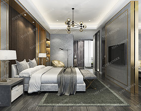 curtain luxury modern bedroom suite in hotel 3D model